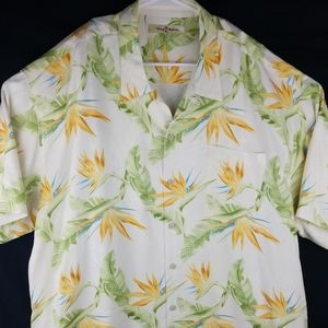 Tommy Bahama Mens 100% Silk Button Up